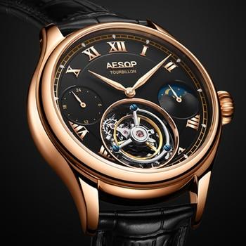 42mm Multi-function Men's Tourbillon Mechanical Watch Luminous Hands Sapphire Clock High-end Business Men Watches Moon Phase 2