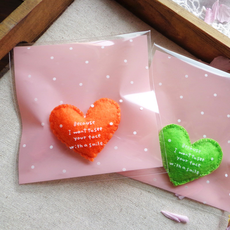 100pcs Pink Dots Plastic Bags Thank You Cookie Candy Bag Self-Adhesive Gift Bag Biscuit Baking Packaging Bag Stationery Envelope
