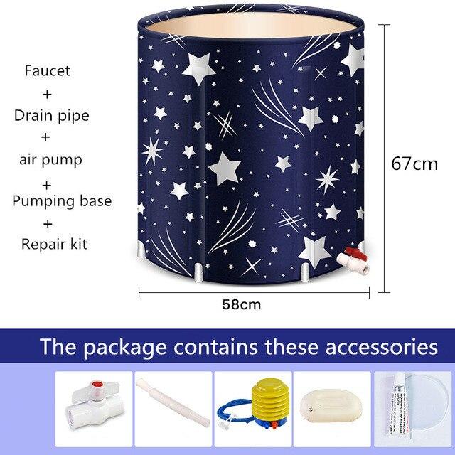 Haute qualité Portable pliable en plastique baignoire épaissie adulte baignoire maison unique SPA Massage piscine robuste seau de bain - 6