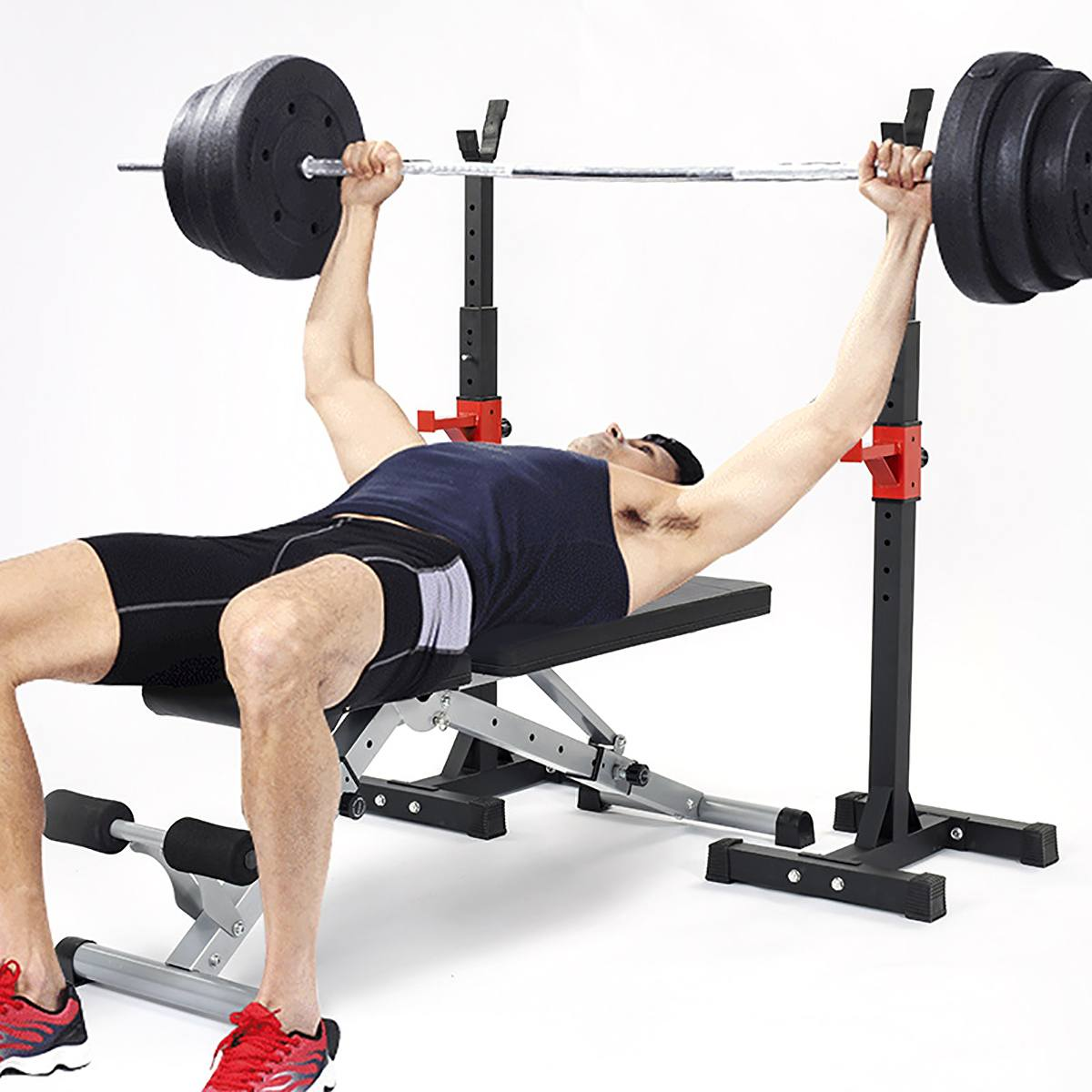 260KG Steel Weight Lifting Dumbbell Bar Adjustable Squat Rack Exercise Stand Home Fitness Barbells Bars Workout CZ