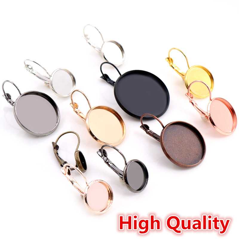 High Quality Copper Materials 8-25mm 10pcs Classic 10 Colors French Lever Back Earrings Base, Earring Blank Supplies For Jewelry