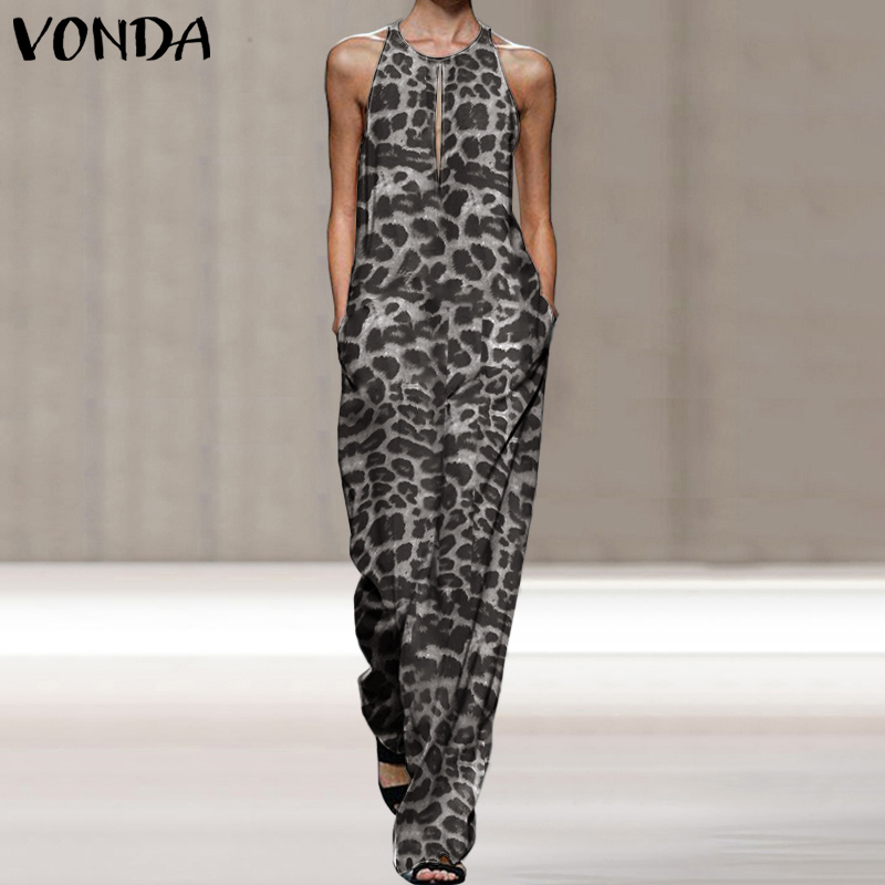 2020 VONDA Summer Rompers Sexy Sleeveless O Neck Vintage Leopard Printed Playsuit Bohemian Party Overalls Femme Elegant Jumpsuit