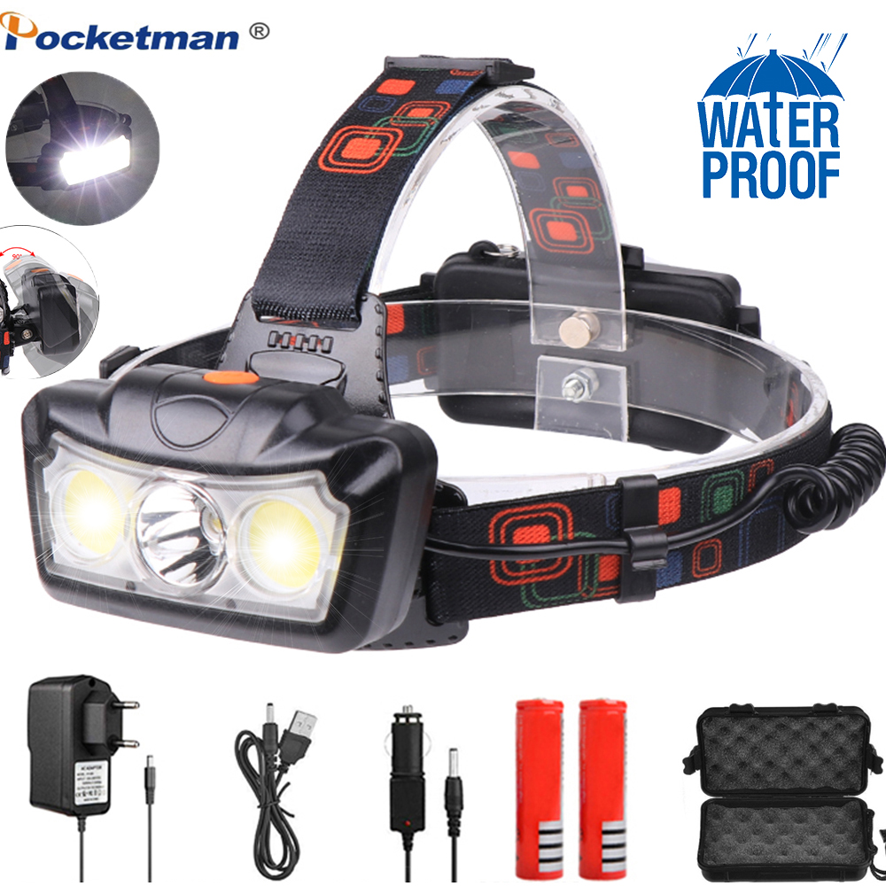 LED Headlamp T6+COB LED Headlight Head Lamp Flashlight Torch Lantern Head Light Use 18650 Battery For Camping
