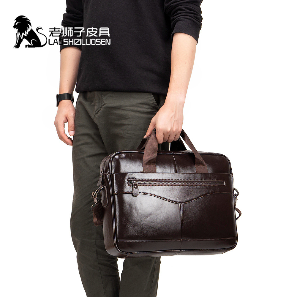 Business Bag Handbag Men Leather Brown Genuine Leather Laptop Bag For Big Man Bags Attache Case Briefcase Laptop Document 0019
