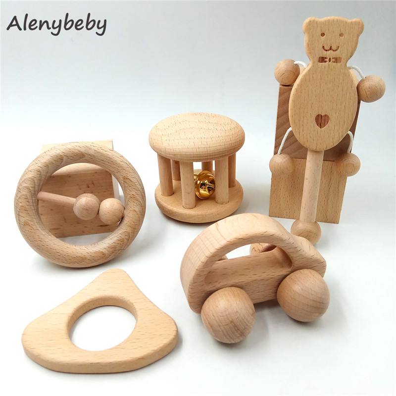 Baby Teether Wooden Teething Set Natural Beech Wood For Girl And Boy Chew Toy Infant Training Organic Montessori Toys Rattle