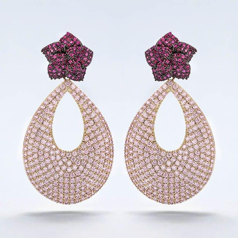 Très fille 50mm de Long romantique élégant rose boucles d'oreilles pleine Micro incrustation plaqué or Banquet bijoux de luxe