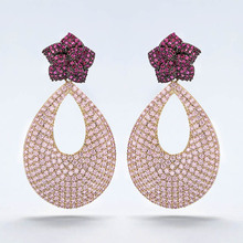 VERY GIRl 50mm Long Romantic Elegant Pink Earrings Full Micro Inlay Gold Plating Banquet Jewelry Luxury