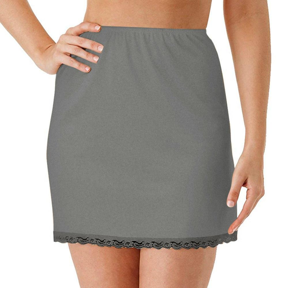 Women's Lined Skirt for Short Skirt Summer Elastic Waist Petticoat Anti-transparent Skirt Milk Silk Lace Skirts One Size(China)