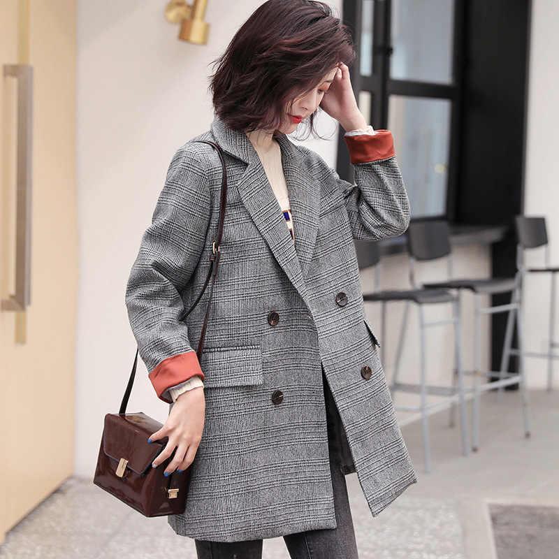 高品質女性のブレザートレンドレトロ長袖格子縞のスーツのジャケット女性の秋と冬の新ファッションコートオフィスジャケット