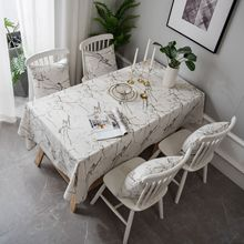 White Marbling INS Modern Minimalist Printed Table Cloth Cover Tablecloth Cotton Linen fang chen ju