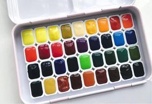 Image 1 - 36 цветов, сплошная Акварельная краска для торта, пигмент для художника, студенческое Искусство Набор для рисования, совместимый с schmincke, загрузка 1 мл