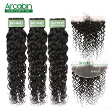 Brazilian Water Wave Bundles With Frontal Human Hair Bundles With Closure 13x6 Remy Lace Frontal Closure With Bundles