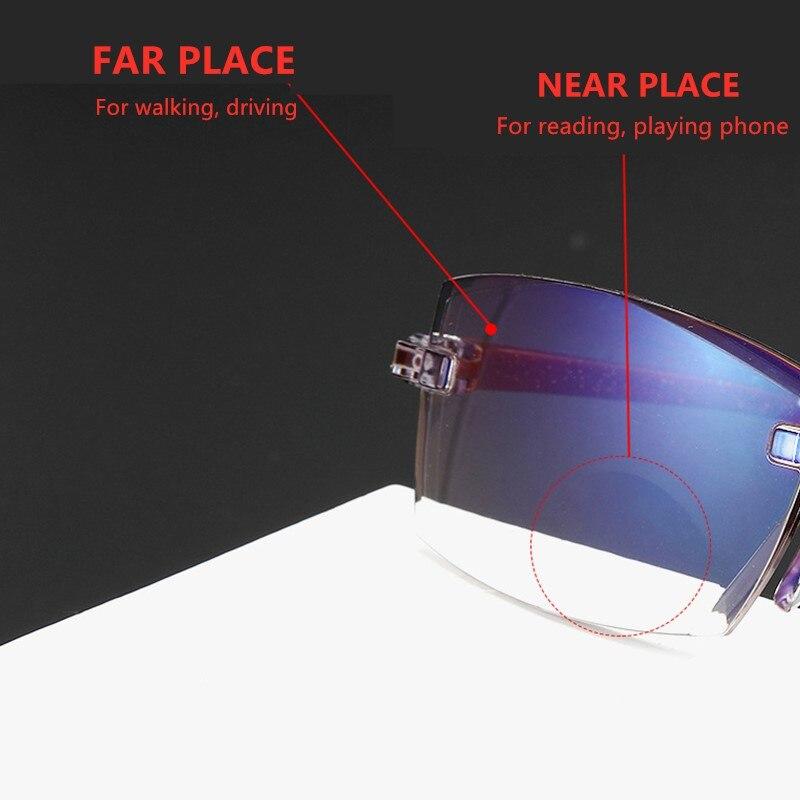 2020 uomini donne occhiali da lettura senza montatura Anti luce blu bifocale lontano vicino ingrandimento occhiali presbiti occhiali + 150 + 200 2