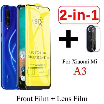 Protector de pantalla 2 en 1 9D para Xiaomi Mi A3 Lite, cristal Protector para cámara Redmi K20 Note 5 6 7 8 Pro 7 7A, cristal templado