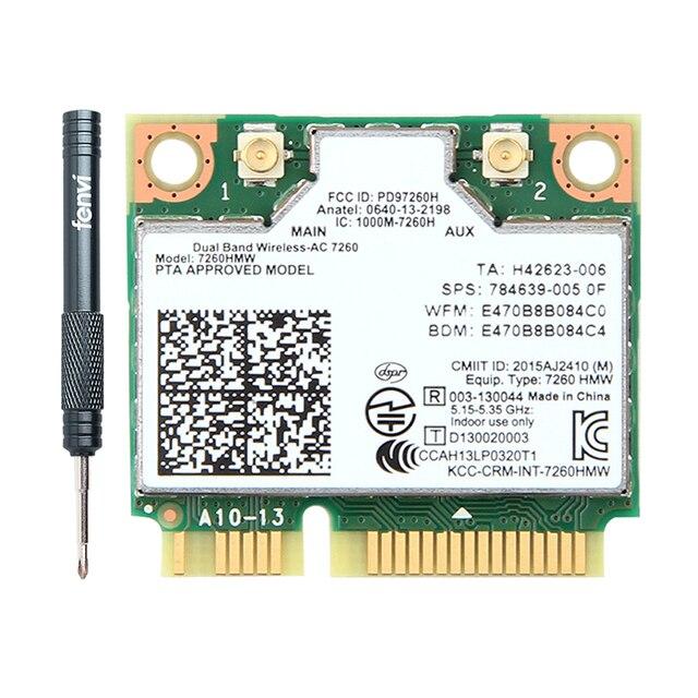 Không Dây Kép AC Intel 7260 7260HMW 7260AC 2.4G/5Ghz 802.11ac MINI PCI E 2X2 card WiFi Wi Fi + Bluetooth 4.0 Wlan Adapter