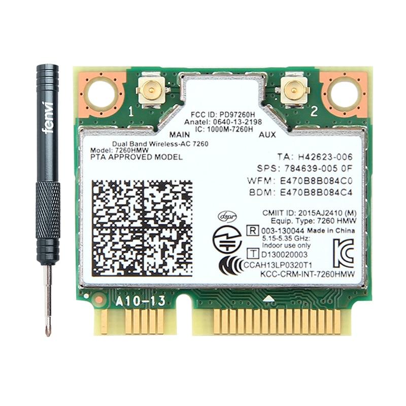 Dual Band Wireless-AC Intel 7260 7260HMW 7260AC 2.4G/5Ghz 802.11ac MINI PCI-E 2x2 WiFi Card Wi-Fi + Bluetooth 4.0 Wlan Adapter(China)
