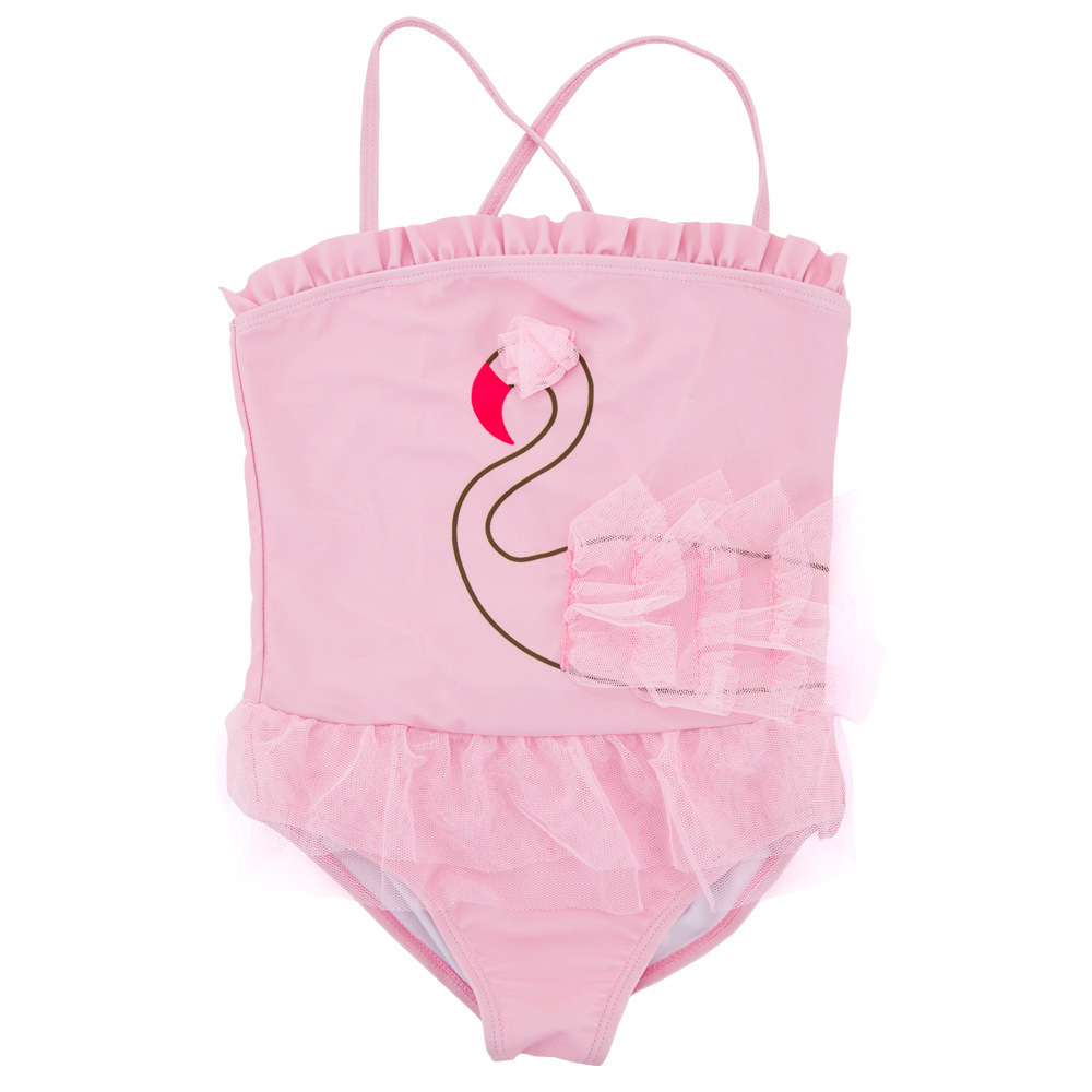 Micro For GIRL'S One-piece Swimming Suit Summer New Products Camisole Cute Swan Gauze BABY'S Swimsuit 1-6-Year-Old Tour Bathing