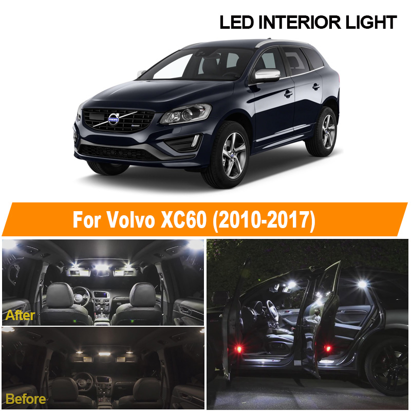 White Canbus Error Free Car Bulbs LED Interior Light Kit For 2010-2015 2016 2017 Volvo XC60 Reading Ceiling Cargo License Lamp