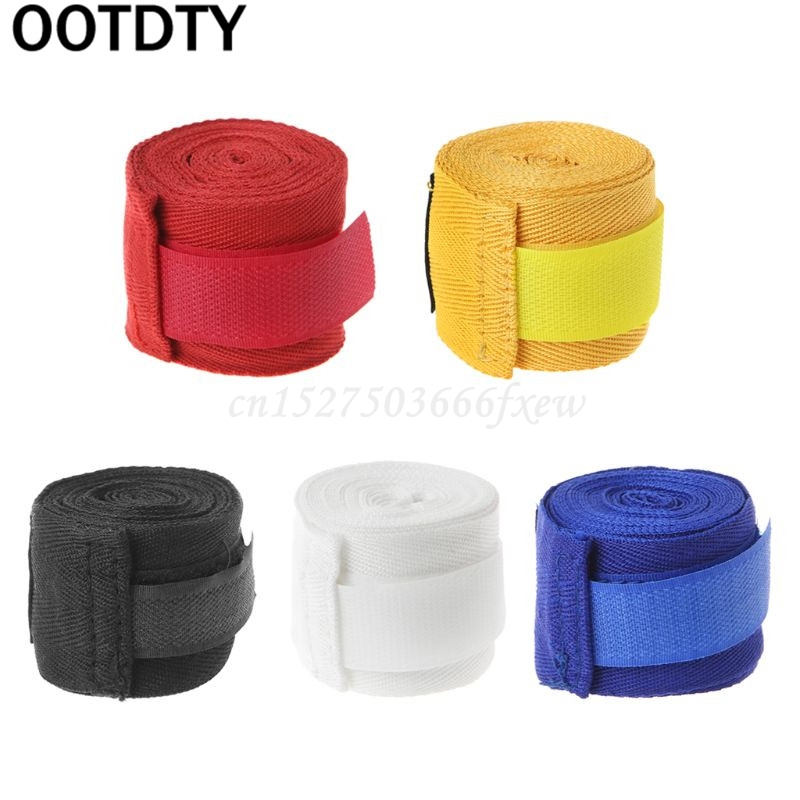 OOTDTY Cotton Boxing Bandage Wrist Wraps Combat Protect Boxing Sport Kickboxing Muay Thai Handwraps Training Gloves 2.5M    - AliExpress