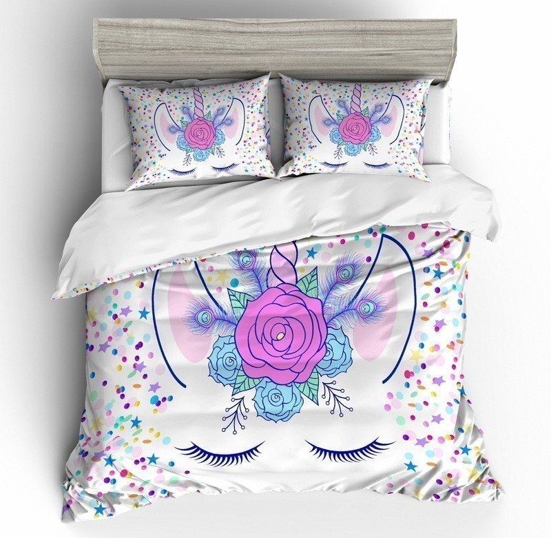 Cartoon Unicorn Rainbow Colors 3D Bedding Set Funny Printed Duvet Cover Set Pillowcases Queen King Twin Size Home Textile - 6