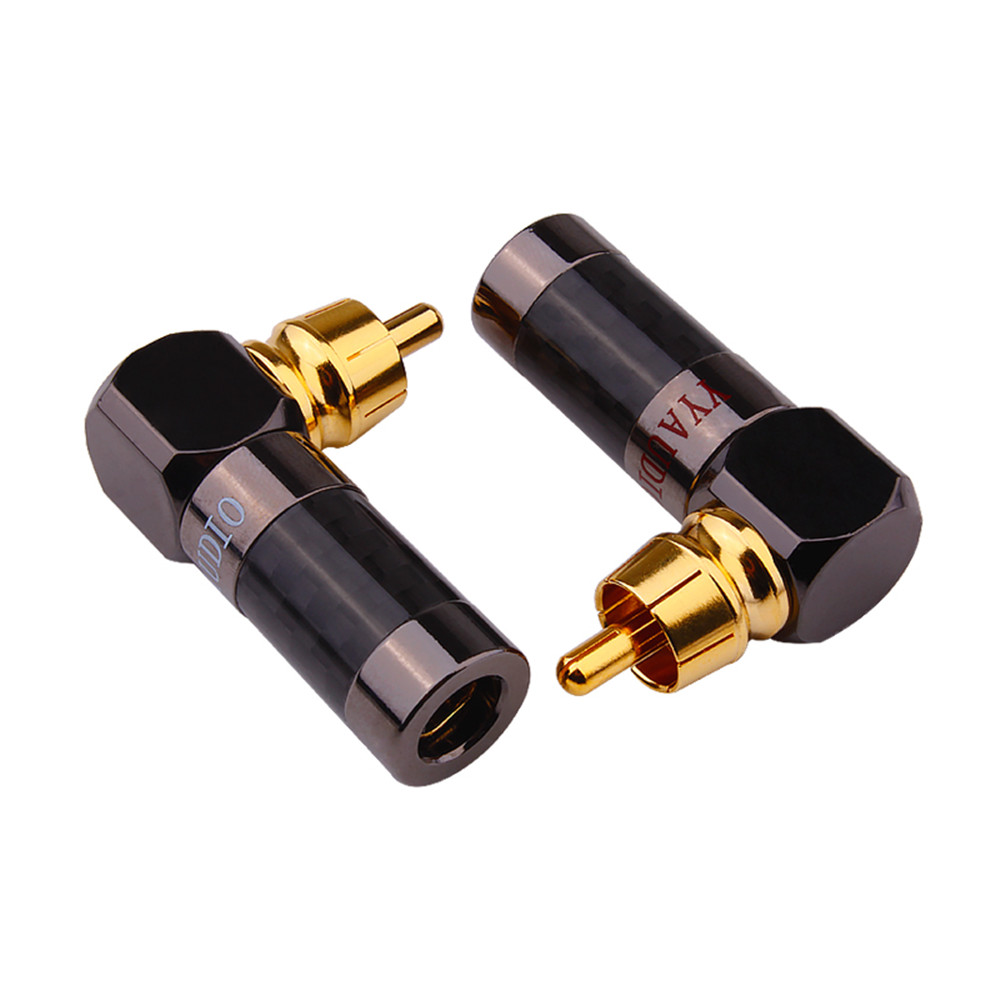 RCA Jack 90 Degree Audio Connector Gold Plated Male Plug Adapter Audio Plug RCA Socket Speaker Terminals Solder Connectors