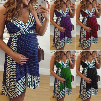 Plus Size Women dress Maternity Lady Geometry V-neck Summer Sleeveless Pregnant Mother Dresses Comfortable 6