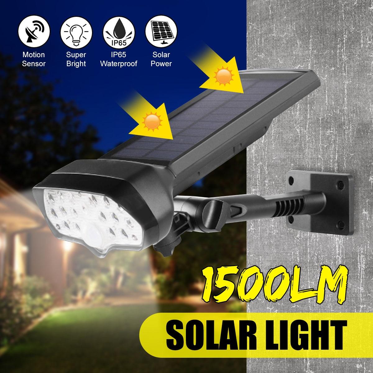 1500LM LED Solar Spotlights Wall Lamp Waterproof PIR Motion Sensor 17LED Solar Wall Light Outdoor Security Lamp For Decoration