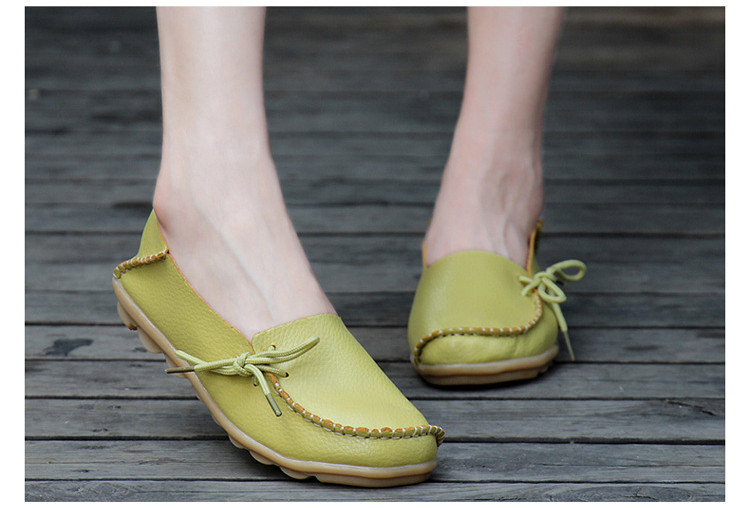 AH 911-2019 Spring Autumn Genuine Leather Women Loafers Walking Mother Flats-12