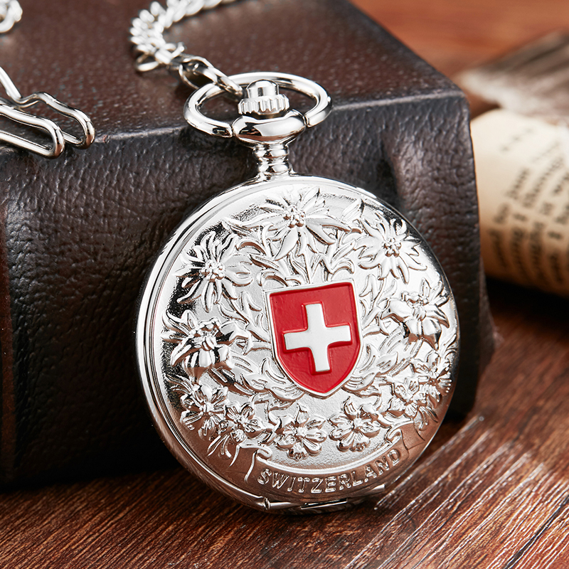 Cross Vintage Silver Mechanical Pocket Watch With Chain Unique Hollow Sculpture Hand Wind Mechanical Pocket Watches Men 2019