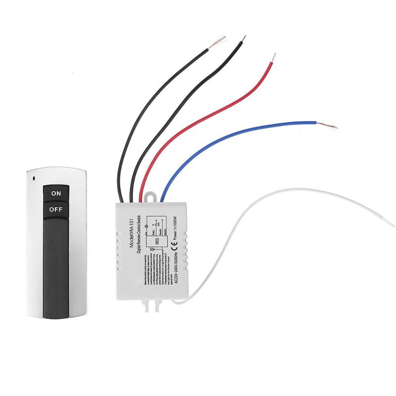 1 Ways Channel Relay ON/OFF 220V Digital Wireless Remote Control Lamp Light Switch With Receiver Transmitter