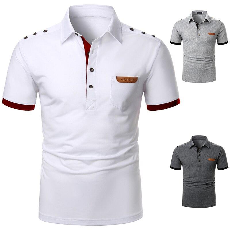 Men Short Sleeve T-Shirts Fashion Leather Tee Casual T-Shirts Slim Fit Turn-down Basic T-Shirts Summer Streetwear Casual Men top