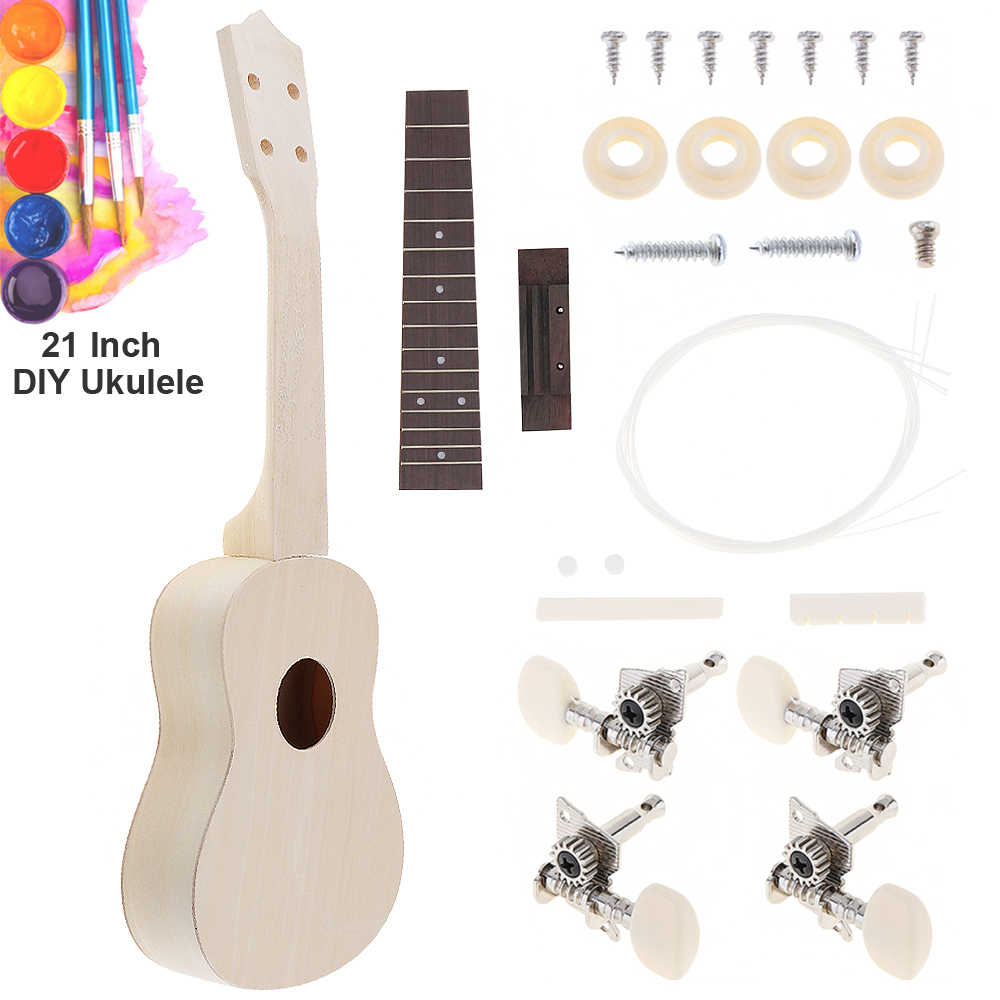 Купить с кэшбэком 21 Inch Simple Ukulele DIY Kit Hawaii Guitar Handwork Support Painting Children