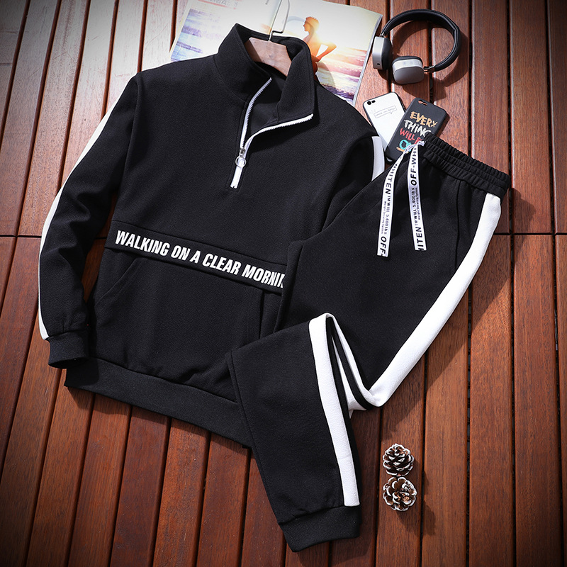 Male Half Zipper Tracksuit Sporting 2 Pieces Sweatsuit Set Men Gym Joggers Work Clothes Printed Hooded Hoodies Jacket Sweatpants