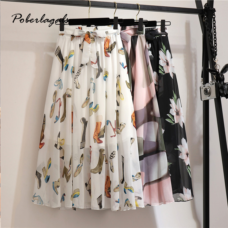 Summer Women Vintage Elegant Bohemia Midi Skirt With Belt 2020 Women High Waist Pleated Skirts Womens Lady Print Skirts Female