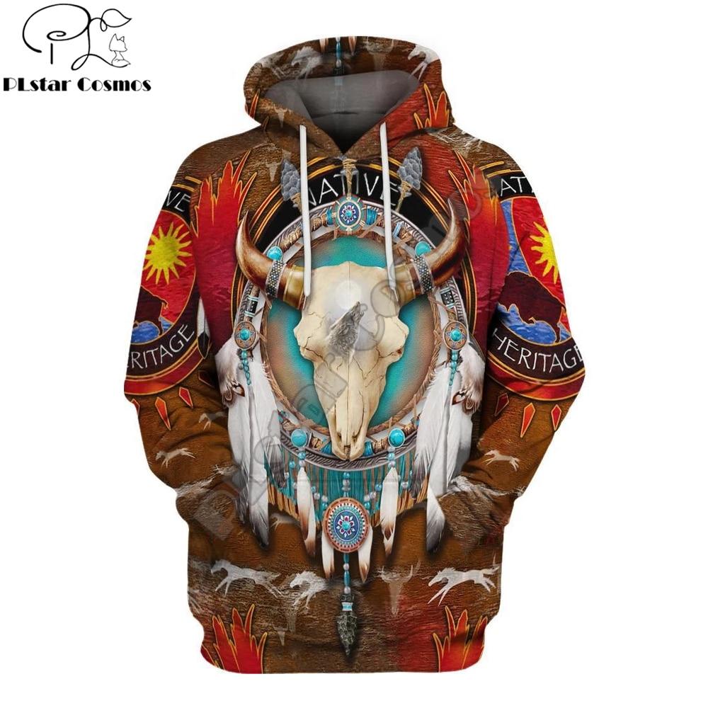 Brand Hoodie 2019 New Styles Native Bison Skull 3D Printed Hoodies Unisex Native Indian Harajuku Streetwear Sudadera Hombre