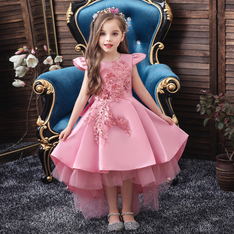 2020 New Summer Flower Girl Wedding Party Birthday Dress Princess Dress Girl Tutu Vestido Baby Kids Big Bow Elegant Dress 3-12 T