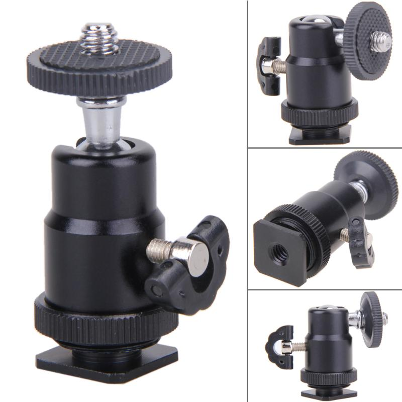 1//4 Dual Nuts Adapter Mini Ball Head with Lock Tripod Mount for Photography Cameras LED Light Flash Bracket Mount