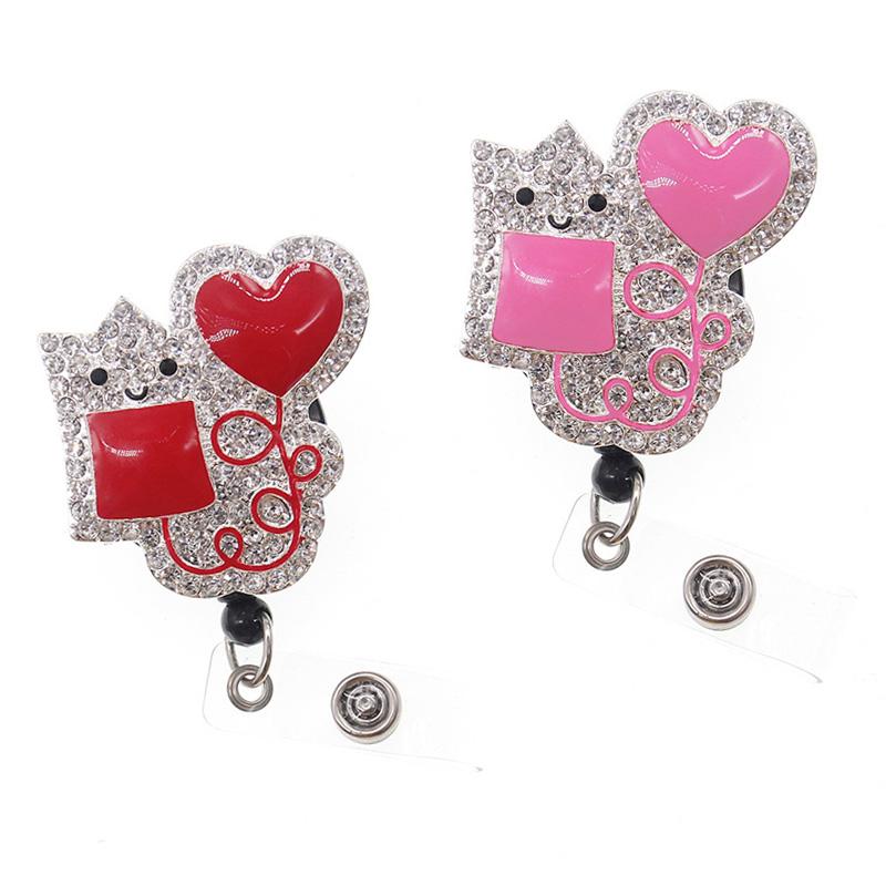 10/20pcs Soft enamel Blood bag heart shape Injection ID badge holder/badge reel/medical name card holder for nurse