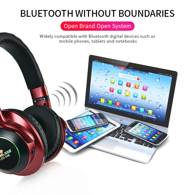 LED Light Wireless Bluetooth Headphones 3D Stereo Earphone  With Mic Headset Support TF Card FM Mode Audio Jack 5