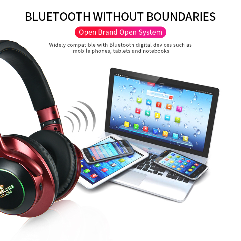 Image 5 - LED Light Wireless Bluetooth Headphones 3D Stereo Earphone  With Mic Headset Support TF Card FM Mode Audio JackBluetooth Earphones & Headphones   -