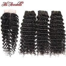 Ali Annabelle zestawy głębokich fal z zamknięciem wiązki ludzkich włosów z zamknięciem brazylijskie włosy wyplata wiązki z HD zamknięcie koronki