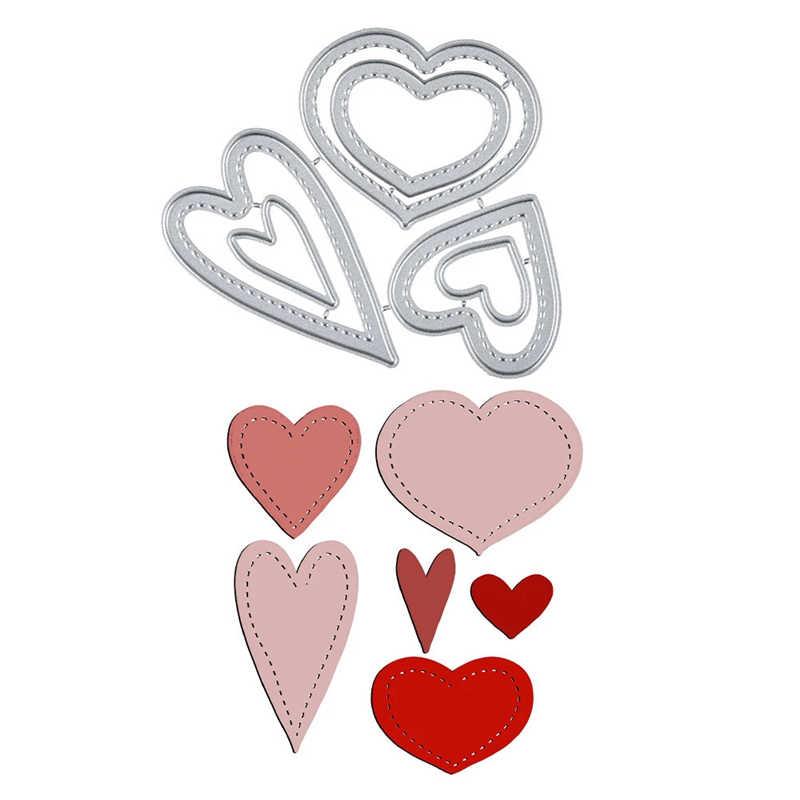 DiyArts Love Craft matryce do cięcia metalu nowy 2020 Stitched Heart wzornik do matryc karty papierowe do scrapbookingu szablon do wytłaczania Cut