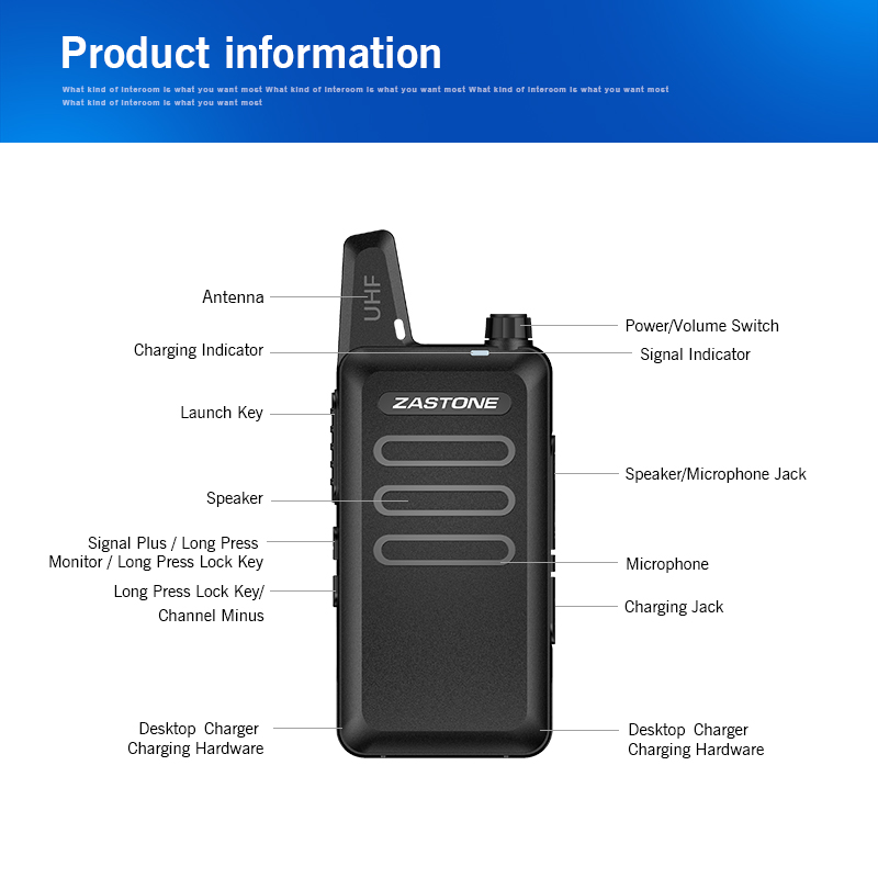 6pcs Zastone ZT-X6 UHF 400-470MHz Two Way Radio 16CH Mini Handheld Walkie Talkie