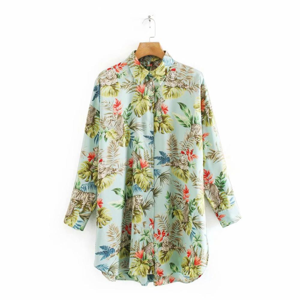 New women tropical leaves and flower print casual Shirts blouse women office business wear roupas femininas brand tops LS6405
