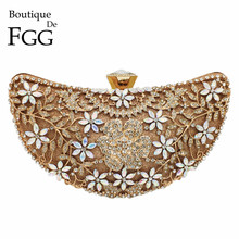 Boutique De FGG Hollow Out Floral Luxury Handbags Women Crystal Evening Clutch Bags Half Moon Bridal Flower Wedding Party Bag