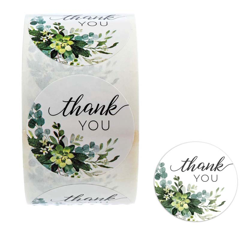 500Pcs Thank You Stickers For Seal Label Greenery Frames Handmade Stickers Gift Box Package Stationery Sticker