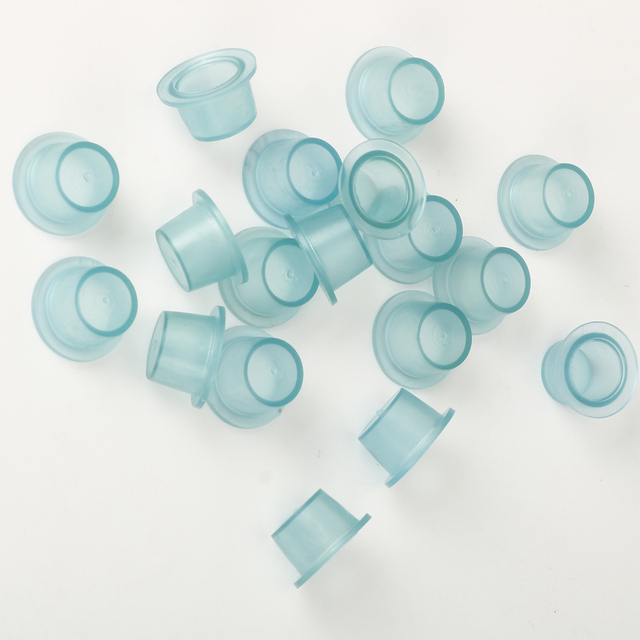 100 Pieces S/M/ Soft  Silicone Disposable Microblading  Blue Transparent Tattoo Ink Cup Permanent Makeup Accessories Container