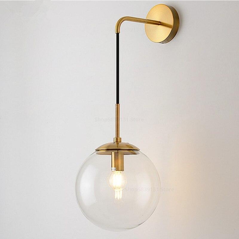 Nordic moderno bola de vidro lâmpadas parede retro simples cabeceira sala estar decoração luzes do corredor escada led luminárias
