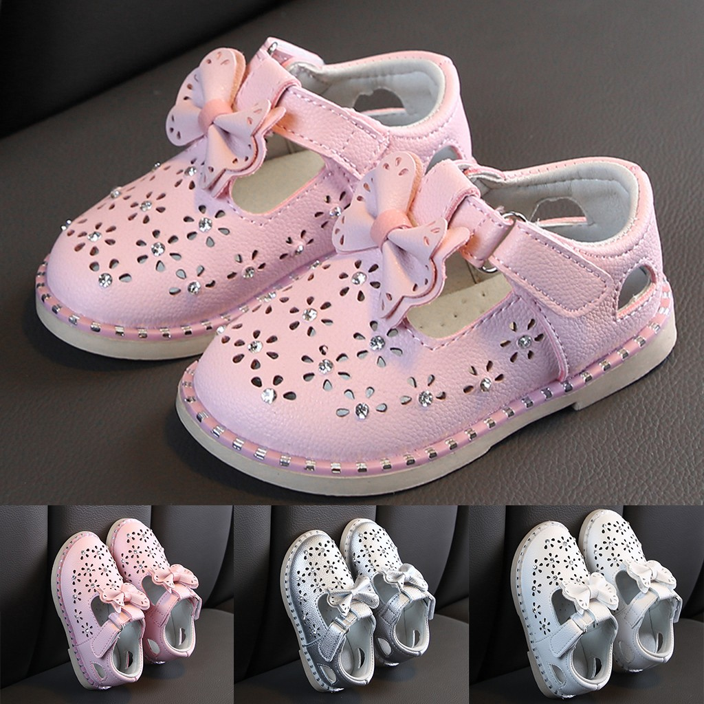 Toddler Infant Kid Girl Leather Bowknot Sneaker Casual Single Princess Shoes US