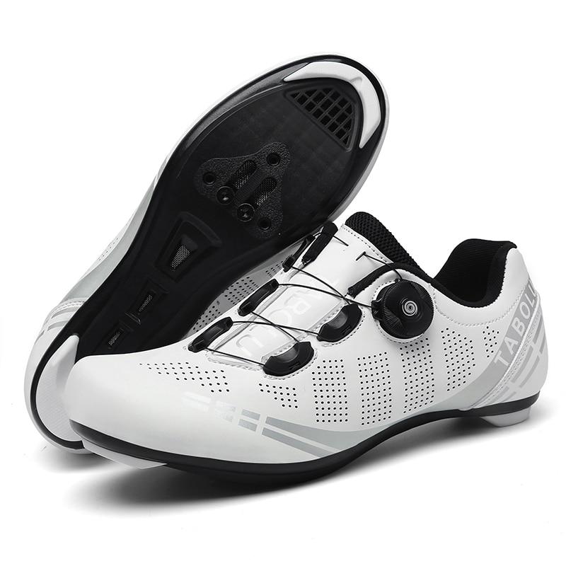 Кроссовки для шоссейных велосипедов, профессиональная дышащая обувь, самоблокирующиеся, белые